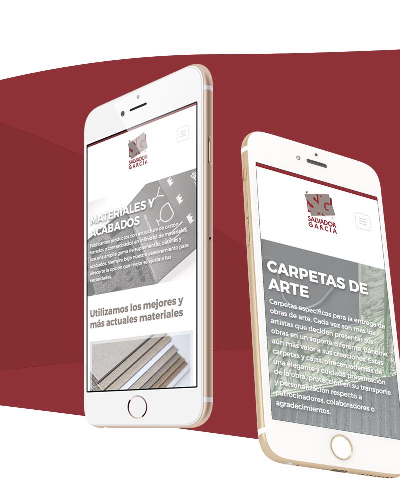 Vista reponsive para móviles de la web de Salvador García