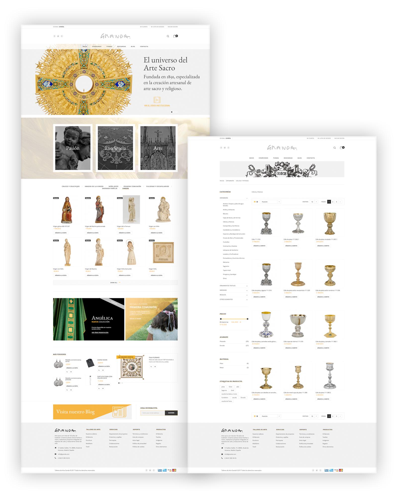 Site corporativo y tienda online Granda